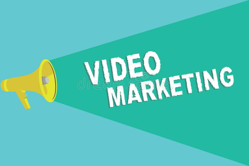Writing note showing Video Marketing. Business photo showcasing create short videos about specific topics using articles.  vector illustration