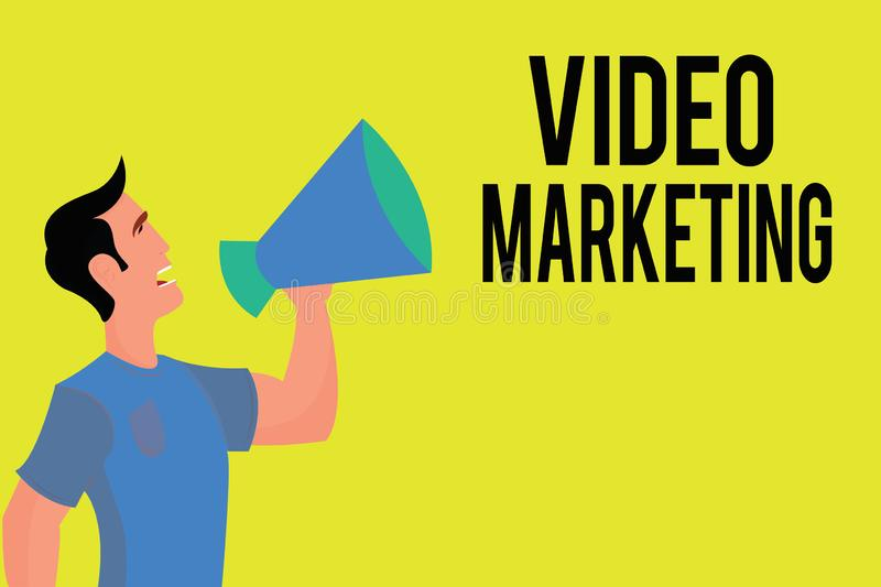 Writing note showing Video Marketing. Business photo showcasing create short videos about specific topics using articles.  royalty free illustration