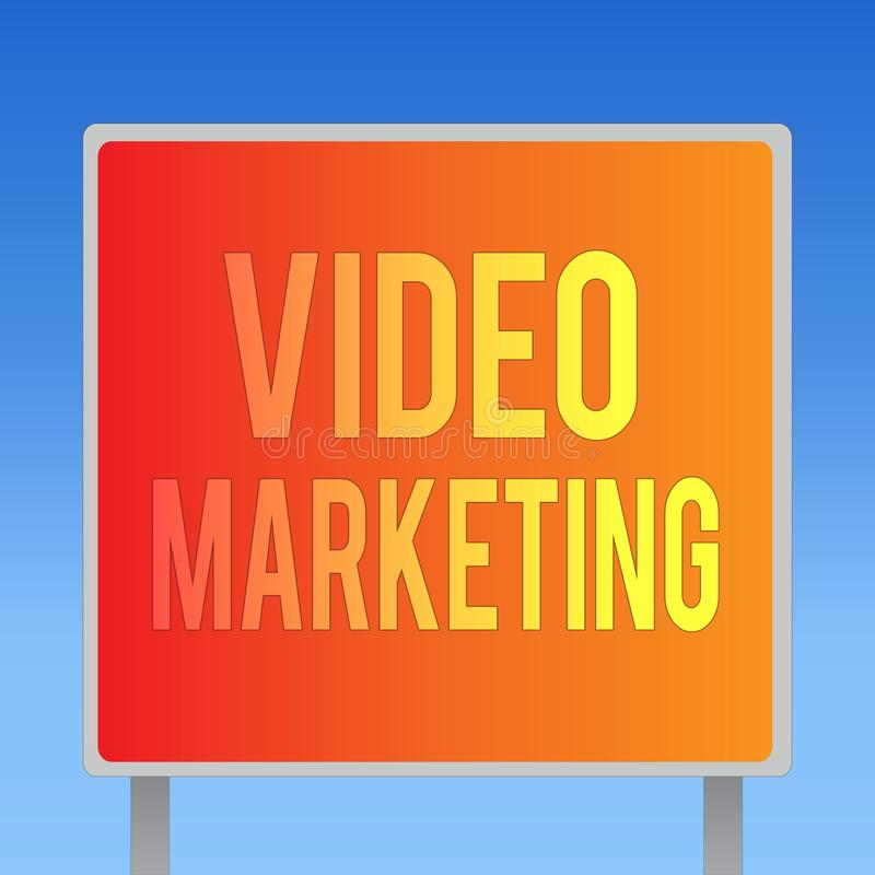 Writing note showing Video Marketing. Business photo showcasing create short videos about specific topics using articles.  stock illustration