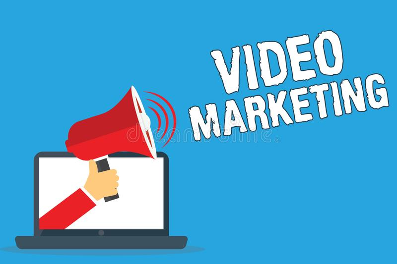 Writing note showing Video Marketing. Business photo showcasing create short videos about specific topics using articles stock photos