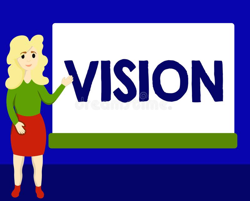 Writing note showing Vision. Business photo showcasing Being able to see Objective Inspiration Planning for future.  stock illustration
