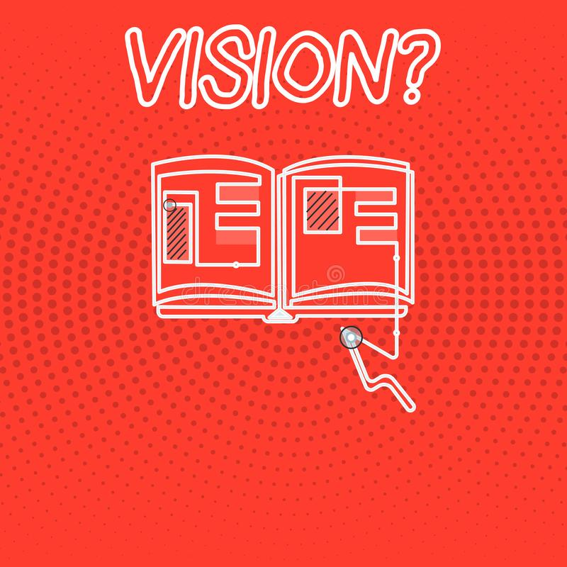 Writing note showing Vision question. Business photo showcasing Being able to see Objective Inspiration Planning for. Future vector illustration