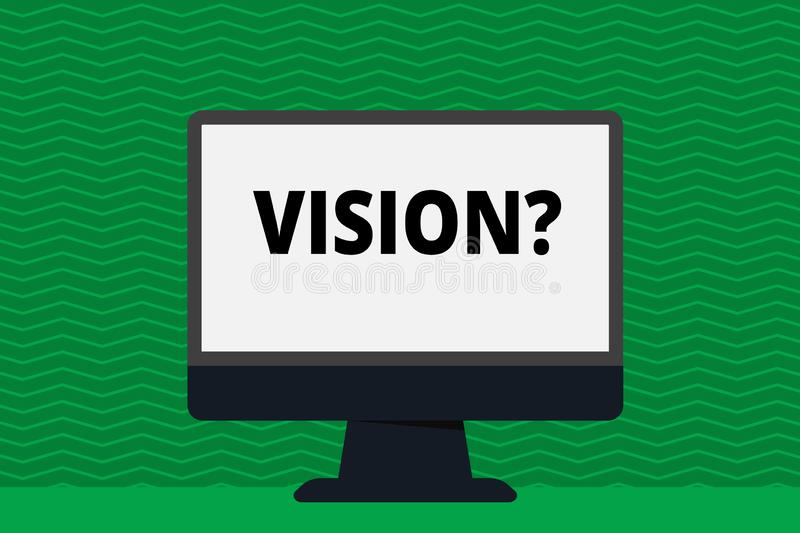 Writing note showing Visionquestion. Business photo showcasing Company commitment describing future realistic state. Writing note showing Visionquestion stock illustration