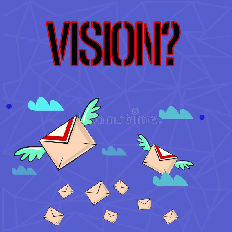 Writing note showing Visionquestion. Business photo showcasing Company commitment describing future realistic state. Writing note showing Visionquestion vector illustration