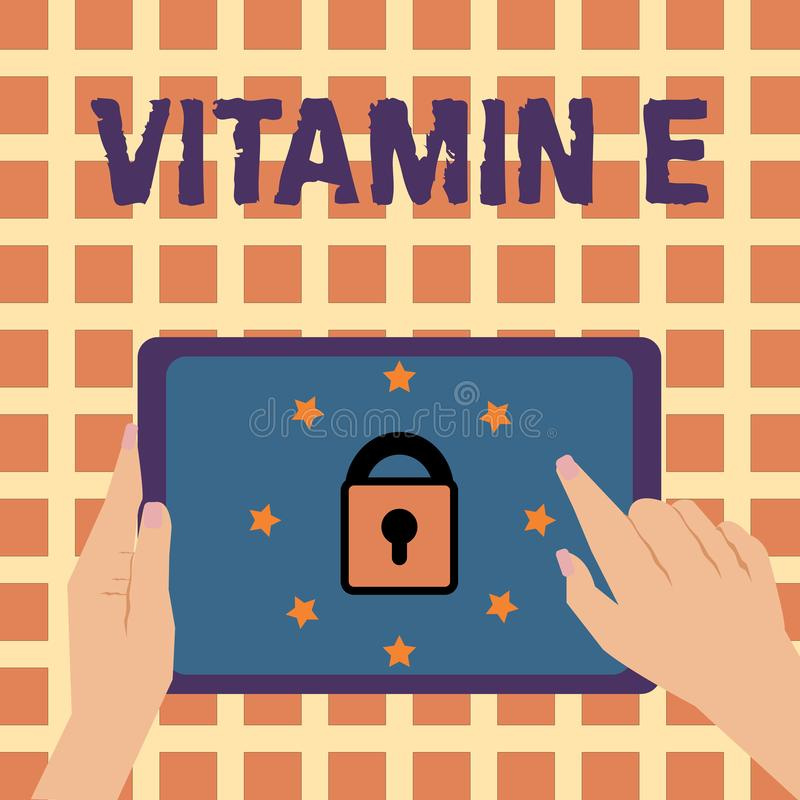Writing note showing Vitamin E. Business photo showcasing Antioxidant Protects body tissue from damage caused by. Substances royalty free illustration