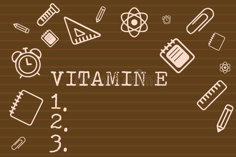 Writing note showing Vitamin E. Business photo showcasing Antioxidant Protects body tissue from damage caused by. Substances vector illustration
