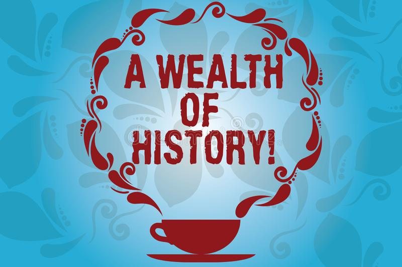 Writing note showing A Wealth Of History. Business photo showcasing Valuable ancient stories ancient cultures traditions. Cup and Saucer with Paisley Design on vector illustration