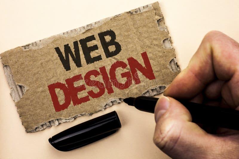 Writing note showing Web Design. Business photo showcasing Web Layout Template Responsive Webpage Webdesign Sketch Navigation wri stock images