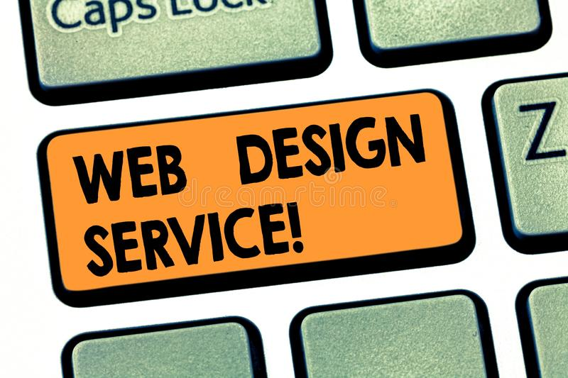 Writing note showing Web Design Service. Business photo showcasing development process for creating website focuses. Factors Keyboard key Intention to create royalty free stock photo