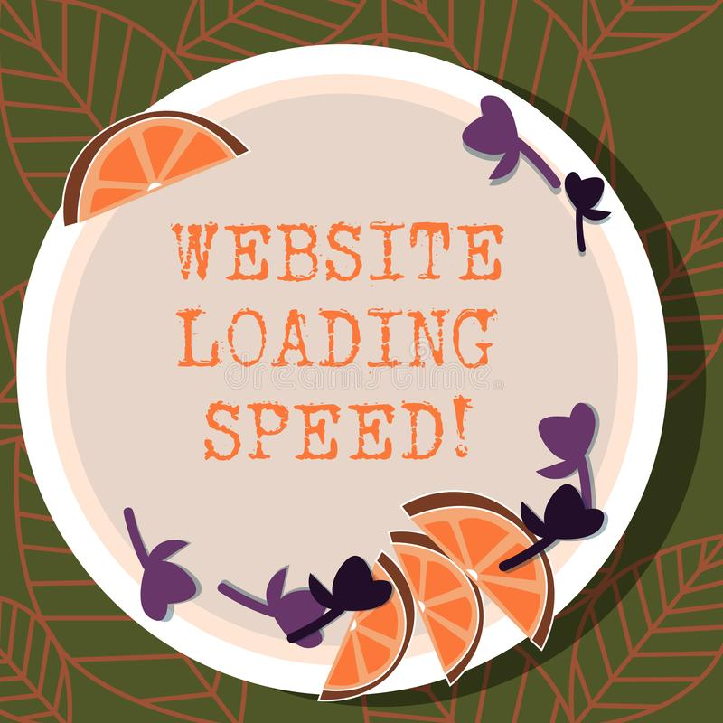 Writing note showing Website Loading Speed. Business photo showcasing time takes to display the entire content of a webpage. Cutouts of Sliced Lime Wedge and stock illustration