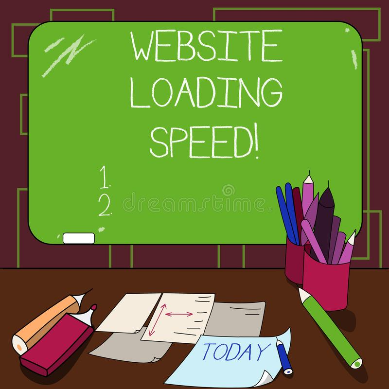 Writing note showing Website Loading Speed. Business photo showcasing time takes to display the entire content of a. Webpage Mounted Blackboard with Chalk vector illustration