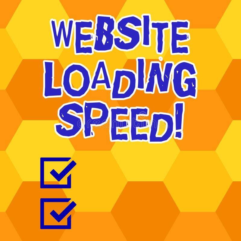 Writing note showing Website Loading Speed. Business photo showcasing time takes to display the entire content of a. Webpage Geometrical Blank Color Shape vector illustration