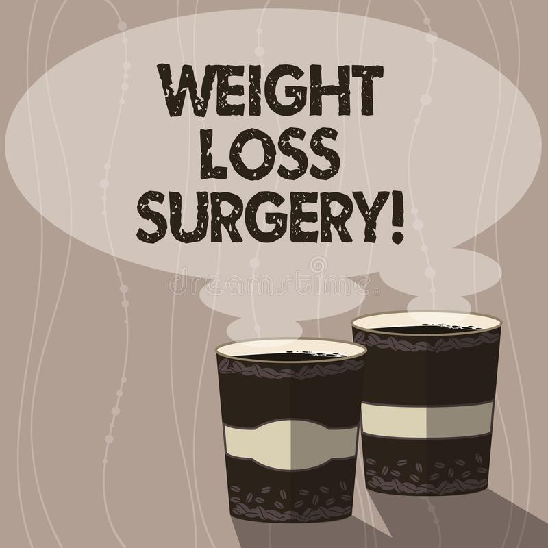 Writing note showing Weight Loss Surgery. Business photo showcasing do on stomach intestines to help demonstrating. Extreme obesity Two To Go Cup with Beverage stock illustration