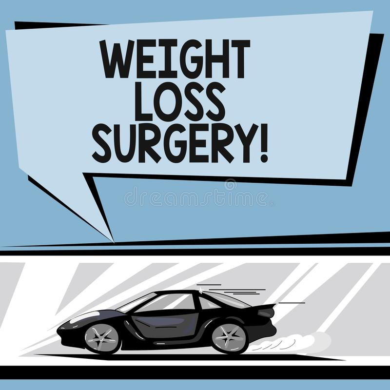 Writing note showing Weight Loss Surgery. Business photo showcasing do on stomach intestines to help demonstrating. Extreme obesity Car with Fast Movement icon vector illustration