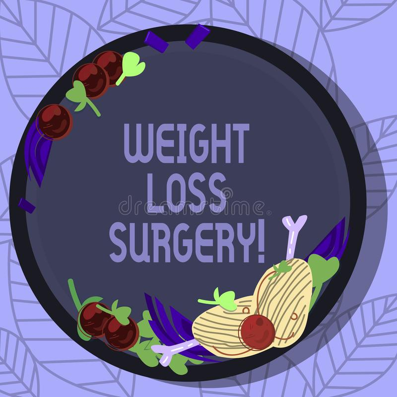 Writing note showing Weight Loss Surgery. Business photo showcasing do on stomach intestines to help demonstrating. Extreme obesity Hand Drawn Lamb Chops Herb royalty free illustration