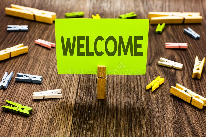 Writing note showing Welcome. Business photo showcasing Warm salutation acknowledgement for someone amiable loved thanked Clips ar. T board creative ideas paper stock image
