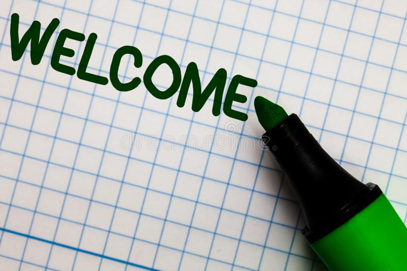 Writing note showing Welcome. Business photo showcasing Warm salutation acknowledgement for someone amiable loved thanked Graph pa. Per marker pen ideas theories royalty free stock image