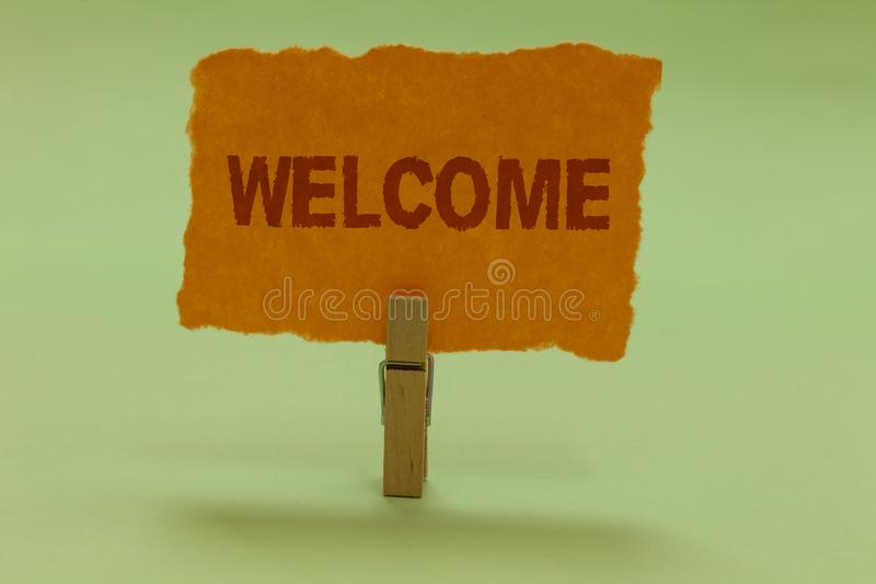 Writing note showing Welcome. Business photo showcasing Warm salutation acknowledgement for someone amiable loved thanked Nice lim. E colour grey shadow art work stock image