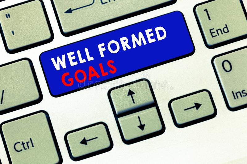 Writing note showing Well Formed Goals. Business photo showcasing Inner Coaching Straight forward objectives or target.  royalty free stock image