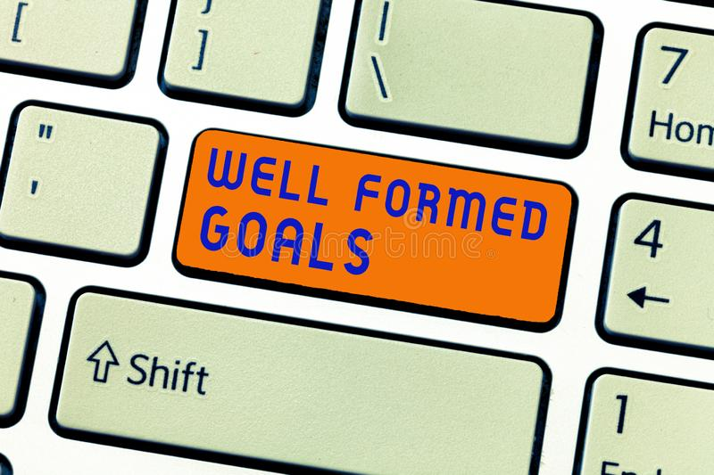 Writing note showing Well Formed Goals. Business photo showcasing Inner Coaching Straight forward objectives or target.  stock images