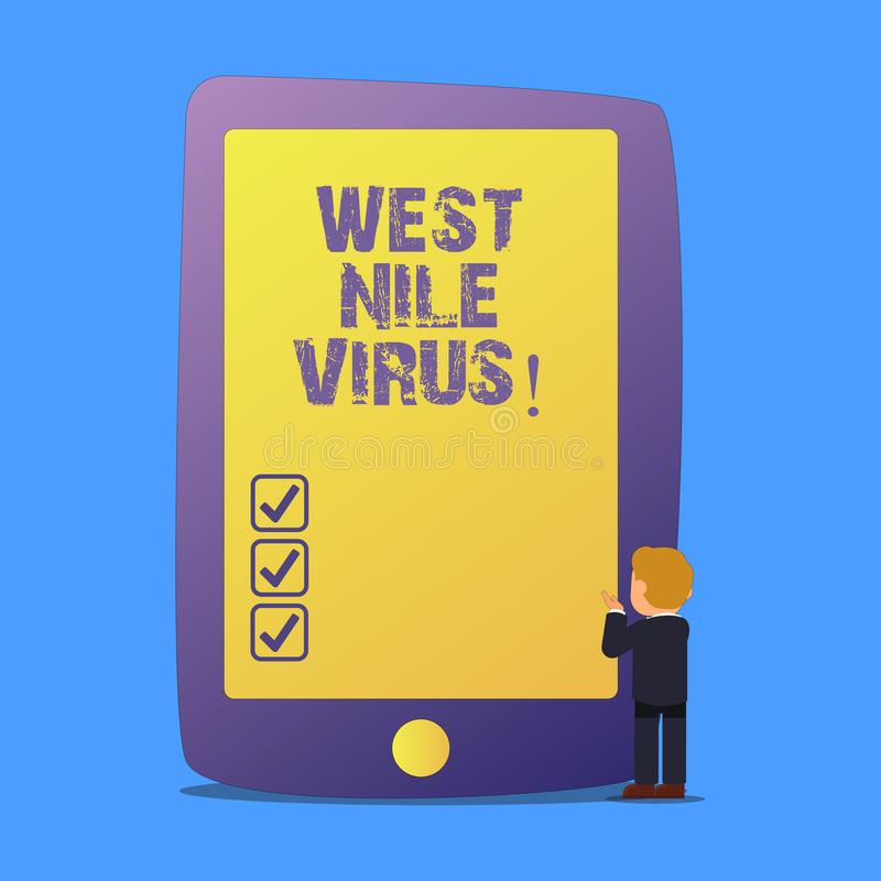 Writing note showing West Nile Virus. Business photo showcasing Viral infection cause typically spread by mosquitoes. Writing note showing West Nile Virus stock illustration