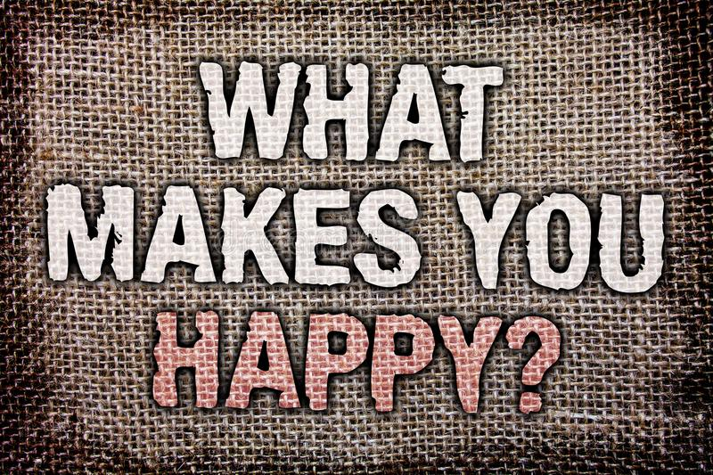 Writing note showing What Makes You Happy Question. Business photo showcasing Happiness comes with love and positive life Antique royalty free stock photo