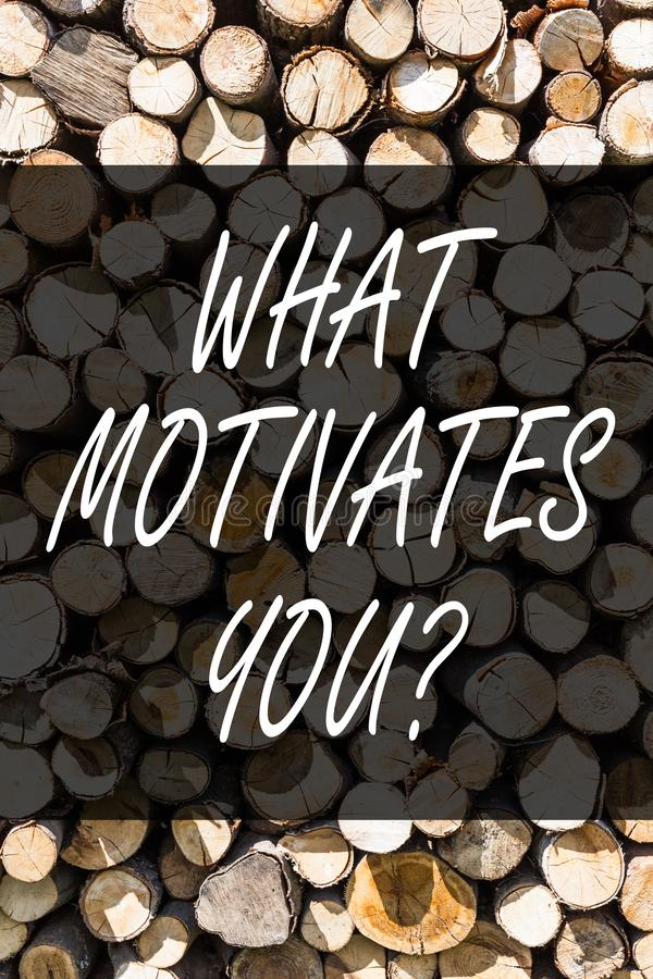 Writing note showing What Motivates Youquestion. Business photo showcasing Passion Drive Incentive Dream Aspiration. Writing note showing What Motivates royalty free stock photos