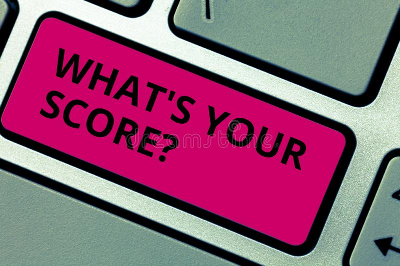 Writing note showing What S Your Score. Business photo showcasing Personal grade rating on a competition game or study. Writing note showing What S Your Score royalty free stock photo
