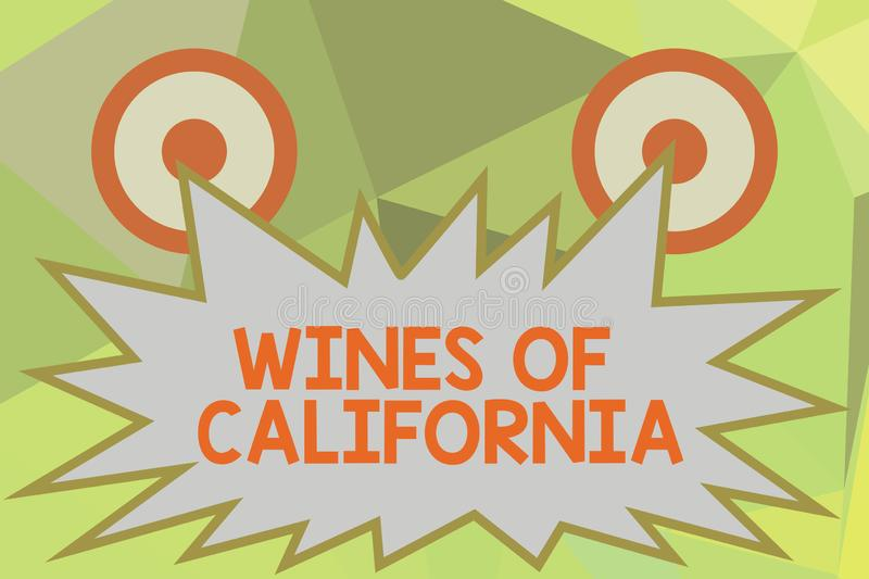 Writing note showing Wines Of California. Business photo showcasing Best Winemakers in the USA Export Quality Beverage.  royalty free illustration