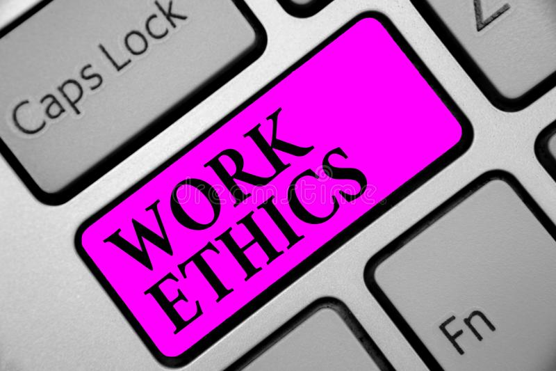 Writing note showing Work Ethics. Business photo showcasing A set of values centered on the importance of doing work Keyboard purp. Le key Intention computer royalty free stock photo
