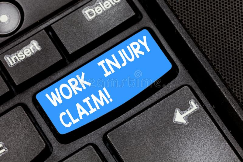 Writing note showing Work Injury Claim. Business photo showcasing insurance providing medical benefits to employees. Keyboard key Intention to create computer stock images
