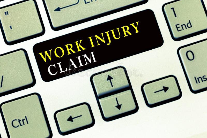 Writing note showing Work Injury Claim. Business photo showcasing Medical care reimbursement Employee compensation.  stock photos