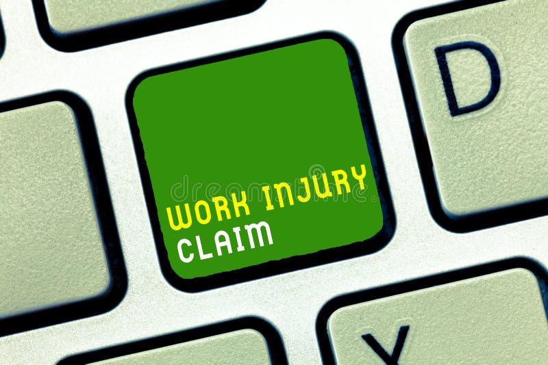 Writing note showing Work Injury Claim. Business photo showcasing Medical care reimbursement Employee compensation.  royalty free stock photo