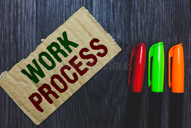 Writing note showing Work Process. Business photo showcasing Standard procedures how to handle a particular job rules system Cardb. Oard with letters on grey stock image