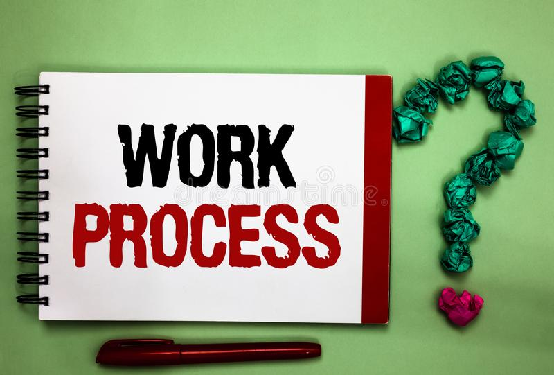 Writing note showing Work Process. Business photo showcasing Standard procedures how to handle a particular job rules system Celad. On color background red sided royalty free stock photography