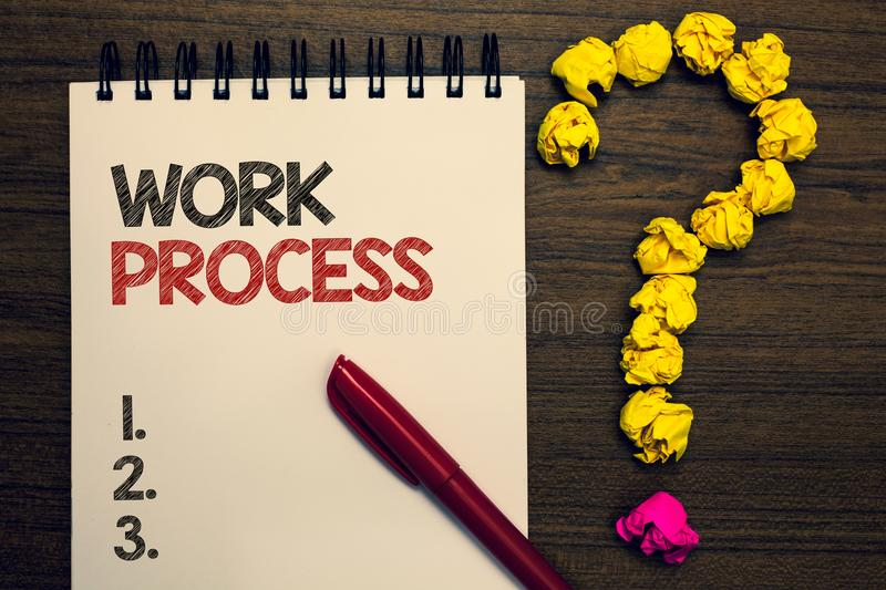 Writing note showing Work Process. Business photo showcasing Standard procedures how to handle a particular job rules system writt. En on notepad red pen yellow royalty free stock photos