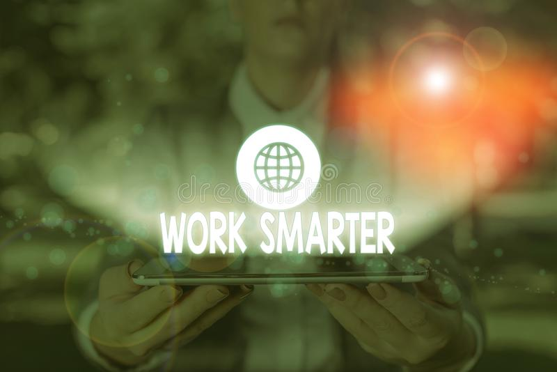 Writing note showing Work Smarter. Business photo showcasing figuring out order to reach goals in the most efficient way. Writing note showing Work Smarter royalty free stock photo