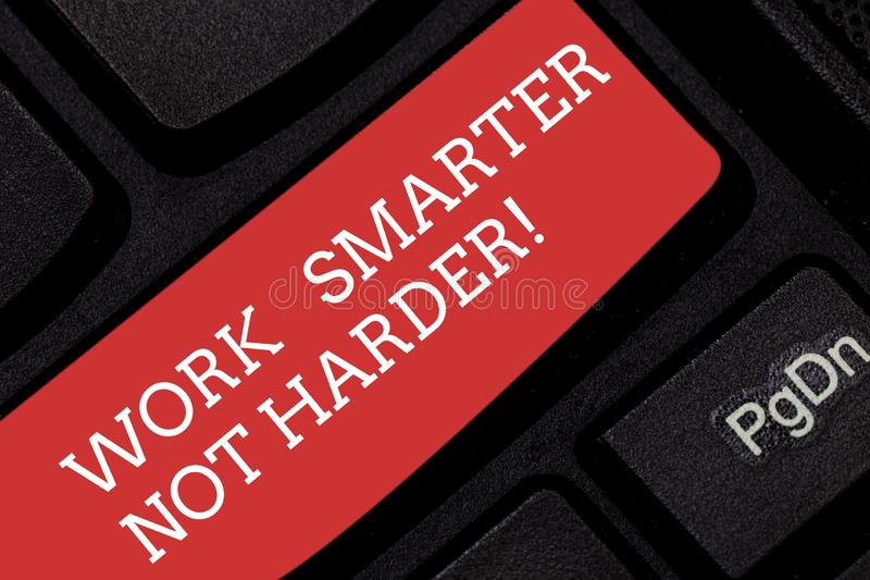 Writing note showing Work Smarter Not Harder. Business photo showcasing Be a more efficient worker high productivity royalty free stock photography