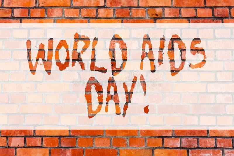 Writing note showing World Aids Day. Business photo showcasing 1st December dedicated to raising awareness of the AIDS. Brick Wall art like Graffiti royalty free stock photo