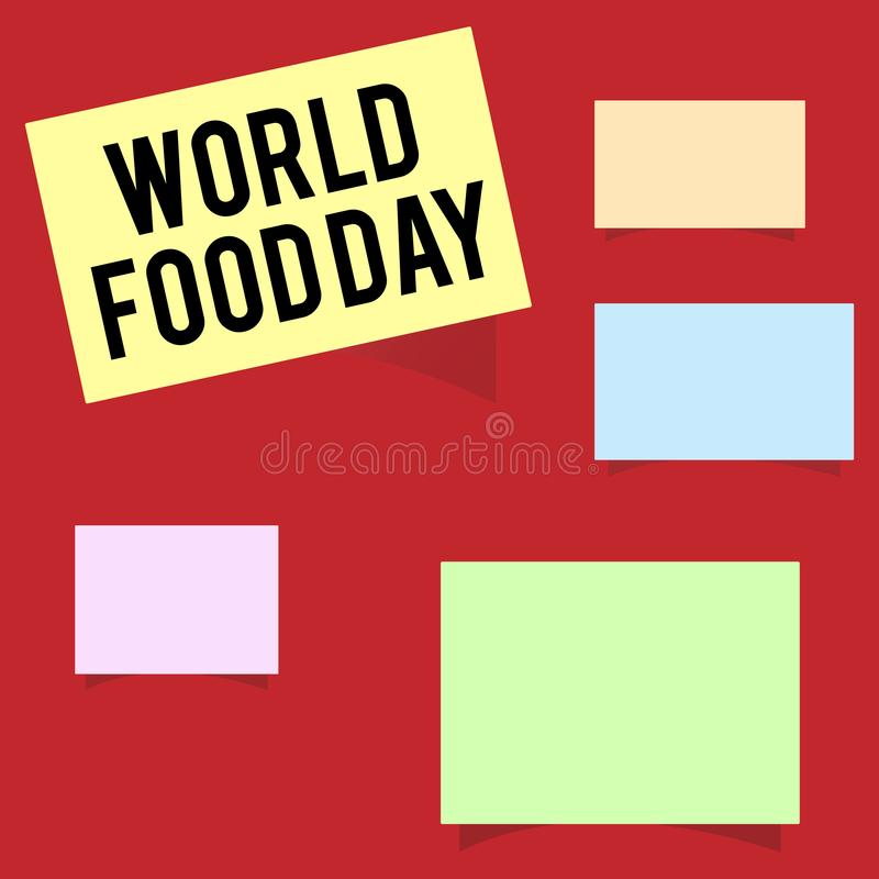 Writing note showing World Food Day. Business photo showcasing World day of action dedicated to tackling global hunger.  vector illustration