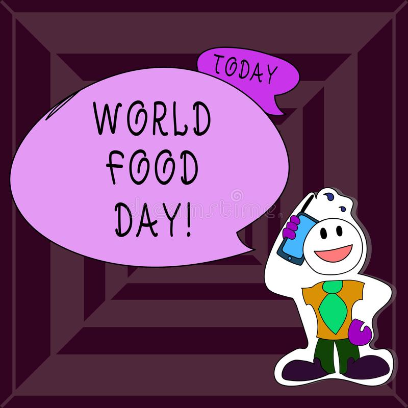 Writing note showing World Food Day. Business photo showcasing World day of action dedicated to tackling global hunger. Writing note showing World Food Day royalty free illustration