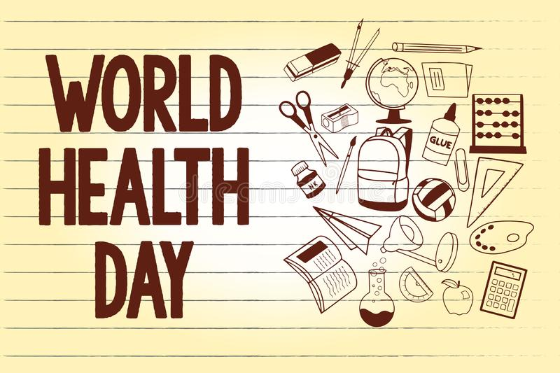 Writing note showing World Health Day. Business photo showcasing Global health awareness day celebrated every year.  royalty free illustration