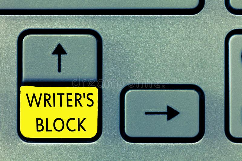 Writing note showing Writer s is Block. Business photo showcasing Condition of being unable to think of what to write stock image