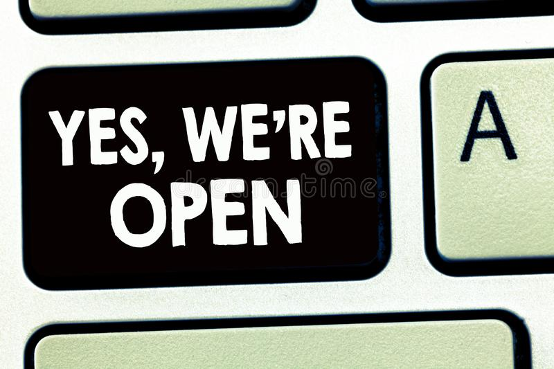 Writing note showing Yes, We re are Open. Business photo showcasing answering on client that shop is available at this time stock images