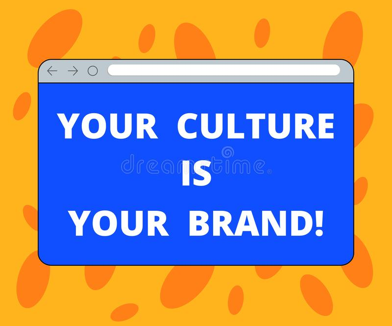 Writing note showing Your Culture Is Your Brand. Business photo showcasing Knowledge Experiences are a presentation card. Monitor Screen with Progress Control royalty free illustration