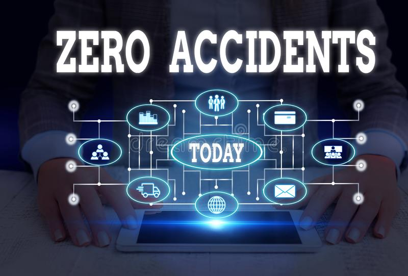 Writing note showing Zero Accidents. Business photo showcasing important strategy for preventing workplace accidents. Writing note showing Zero Accidents stock images