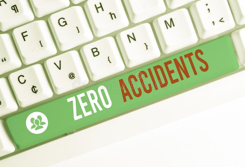 Writing note showing Zero Accidents. Business photo showcasing important strategy for preventing workplace accidents. Writing note showing Zero Accidents stock photo