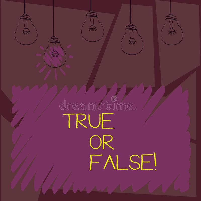 Writing note showingTrue Or False. Business photo showcasing Decide between a fact or telling a lie Doubt confusion. Writing note showingTrue Or False. Business vector illustration