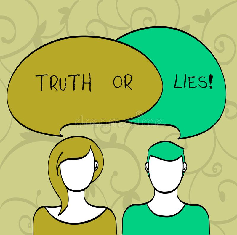 Writing note showingTruth Or Lies. Business photo showcasing Decide between a fact or telling a lie Doubt confusion. Writing note showingTruth Or Lies. Business royalty free illustration