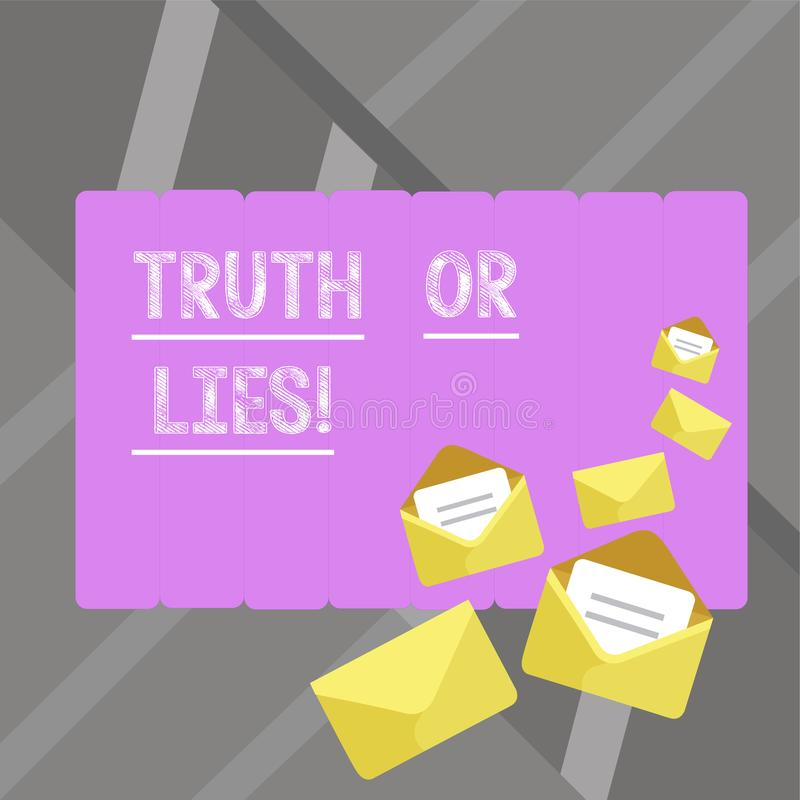 Writing note showingTruth Or Lies. Business photo showcasing Decide between a fact or telling a lie Doubt confusion. Writing note showingTruth Or Lies. Business stock illustration
